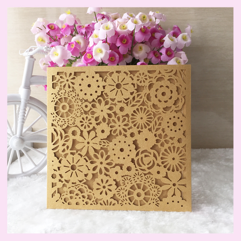 50pcs Lot Hotlaser Cut Pocket Invitations For Wedding Light Purple Card Customized Size And Printing Invites