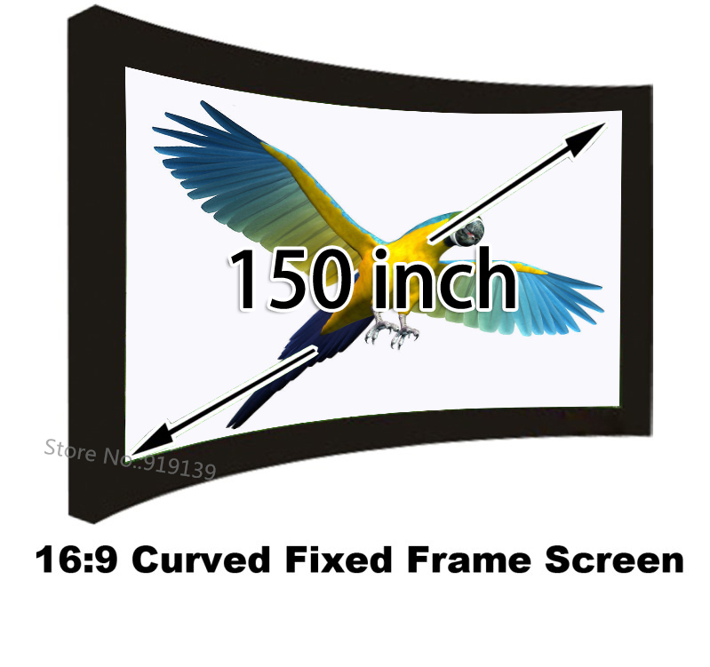 Professional HD 150 inch Brightness Curved Fixed Frame Projector Projection Screen Wide 16/9 For Office 1080p Home Cinema low price 92 inch flat fixed projector screen diy 4 black velevt frames 16 9 format projection for cinema theater office room
