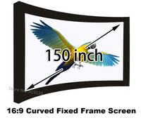 Professional HD 150 inch Brightness Curved Fixed Frame Projector Projection Screen Wide 16/9 For Office 1080p Home Cinema