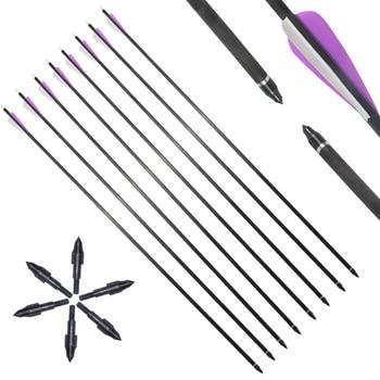 6/12 pcs31 inch Spine 350 Carbon Arrow for Recurve/Compound Bows Archery Hunting With Arrow Quiver Sponge Arrowheads 1