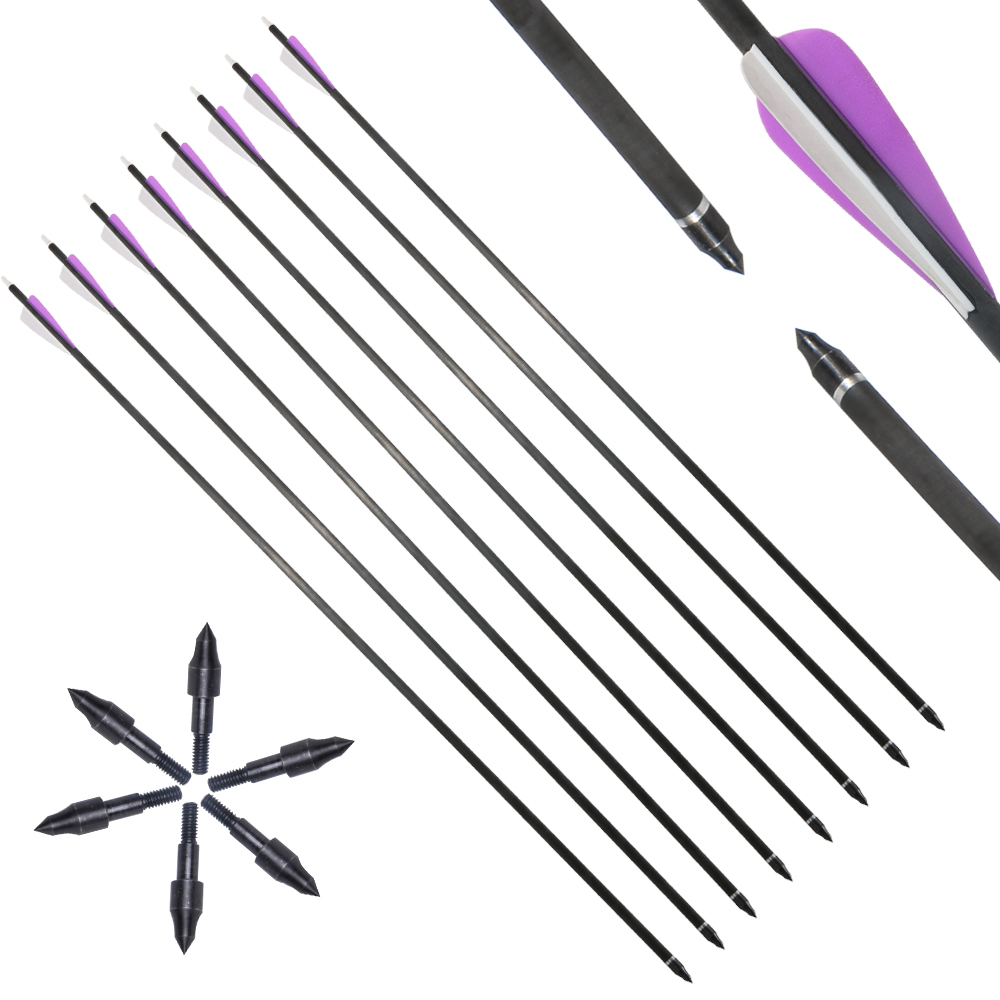 6/12 Pcs31 Inch Spine 350 Carbon Arrow For Recurve/Compound Bows Archery Hunting With Arrow Quiver Sponge Arrowheads