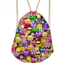 Women s Funny Emoji Drawstring Bags for Female Custom Backpack Beach Bag Small Girl s Bunch