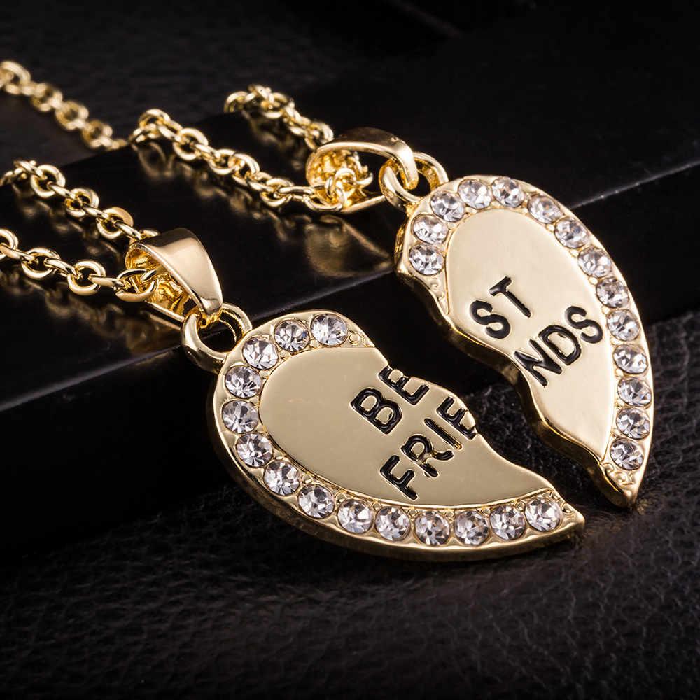 Stylowa biżuteria Unisex 2 sztuk Bff naszyjnik najlepszy przyjaciel mężczyzna kobiet serce wisiorek naszyjnik para Harf Kolye kolor złoty łańcuch