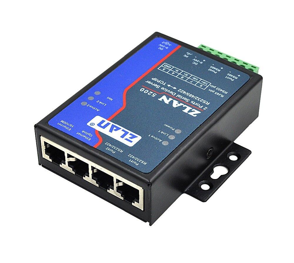 DHCP DNS 2 ports RS232 RS485 RS422 à tcp/ip Ethernet RJ45 convertisseur industriel double périphérique série serveur commutateur ZLAN5200