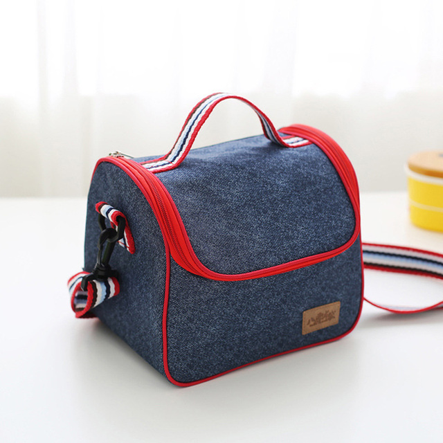 DUDINI Denim Material Lunch Bag Leisure Style Carry Lunch Bag Women Solid Color Pattern Hand-Held Portable Insulation Picnic Bag