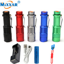 RU Mini Zoomable LED Flashlight CREE Q5 2000lm Zoom Tactical Flashlights AA 14500 battery LED Torch Lamp Lantern