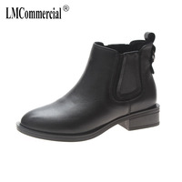 Chelsea boots British wind new leather boots autumn winter 2018 female ankle boots luxury shoes women designers cashmere zipper