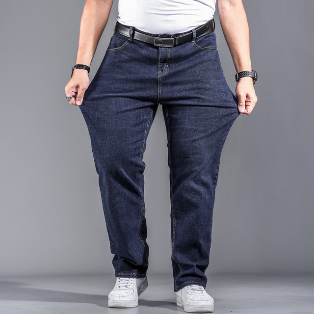 High Quality Stretch Plus Big Size 29 - 44 46 48 90% Cotton Straight Denim Jeans Men Famous Brand 2019 Spring 4