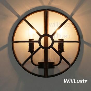 Applique murale en fer rouille Willlustr rustique en métal FOUCAULT vintage lampe demi-bougie semi-orbe éclairage industriel Gyro loft lumière