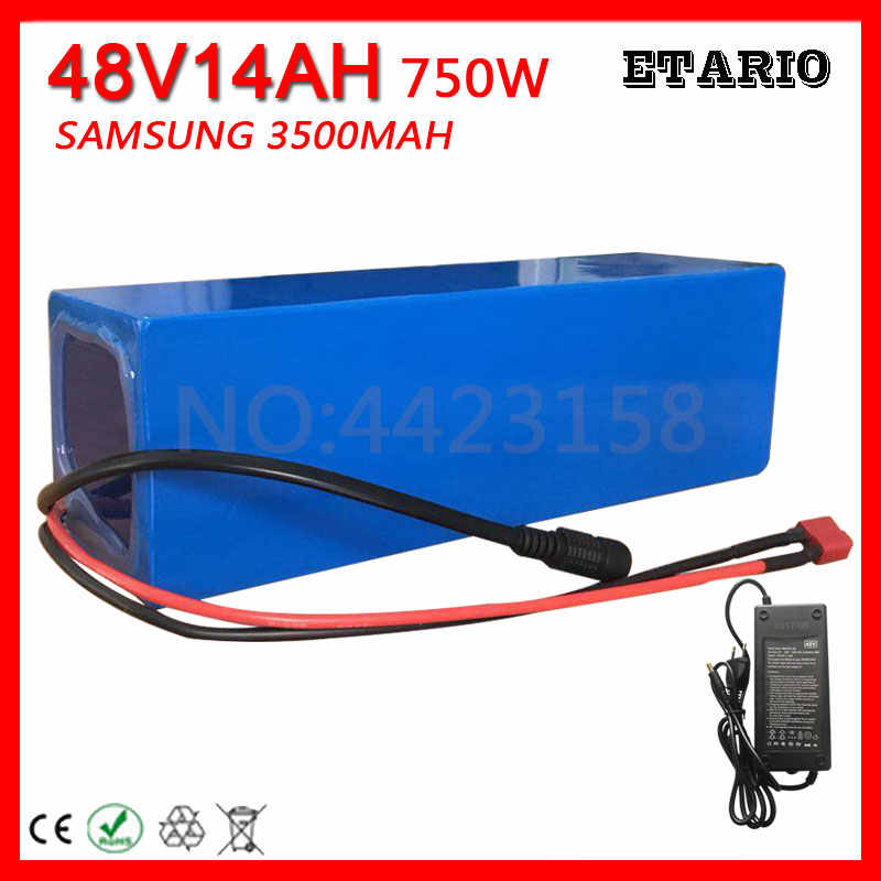 Free Customs Fee 48V 14AH Electric Bike Battery 750W 48 V 14AH Battery Pack use Original SAMSUNG 3500MAH Cell with 2A Charger