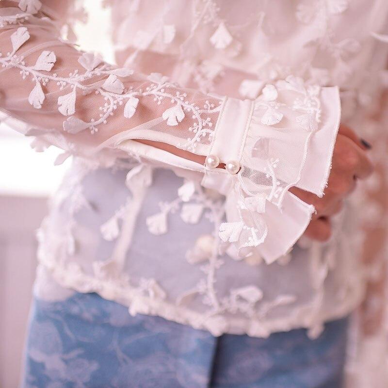 De Automne Pluie Sweet Évider Beige Transparent À Fleurs Dentelle Princesse C15cd5851 bleu Chemise Manches Sucrerie Papillon Lolita Longues qX4xgwOdtO