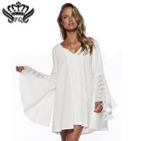 2018 frühling Frauen Vintage Kleid Für Hippie Boho Glocke Lange Sleeve Gypsy Festival Casual Weiß Plus Größe Lose Spitze Mini kleid