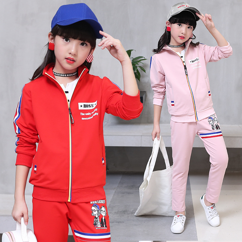 Children clothing sets autumn Sports Suits for 5 6 8 9 10 11 12 years old girls zipper cotton clothes red pink casual tracksuit