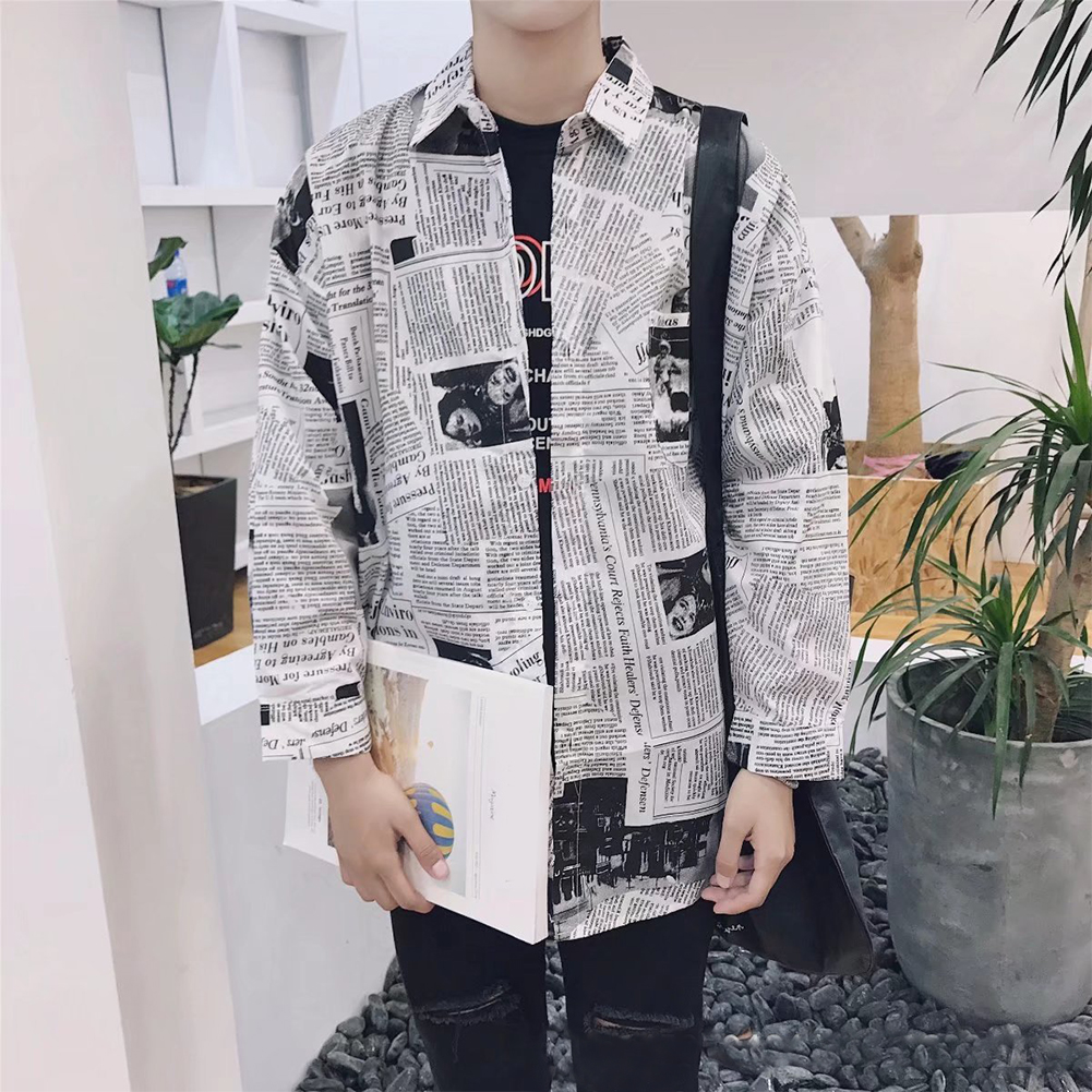 Square Neck Male Clothes Daily Tops Cotton Blend Slim Fit Splicing Long Sleeve Newspaper Printing Fashion Boy Spring Men Shirts(China)