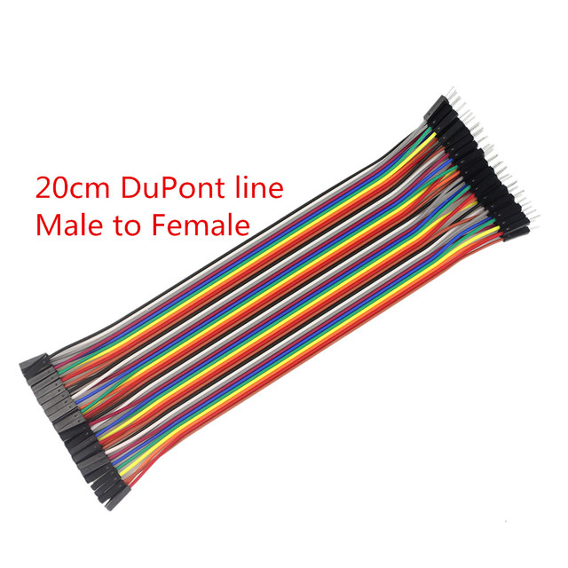 1lot=40pcs Dupont Cable 20cm 2.54mm 1pin 1p-1p Female to Male Jumper Wire for arduino Diy Kit