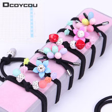 1PC New Cute Flower Girls Hair Ropes Ponytail Holder Headband Hair Ring Colorful Flowers Elastic Hair Bands Hair Accessories(China)