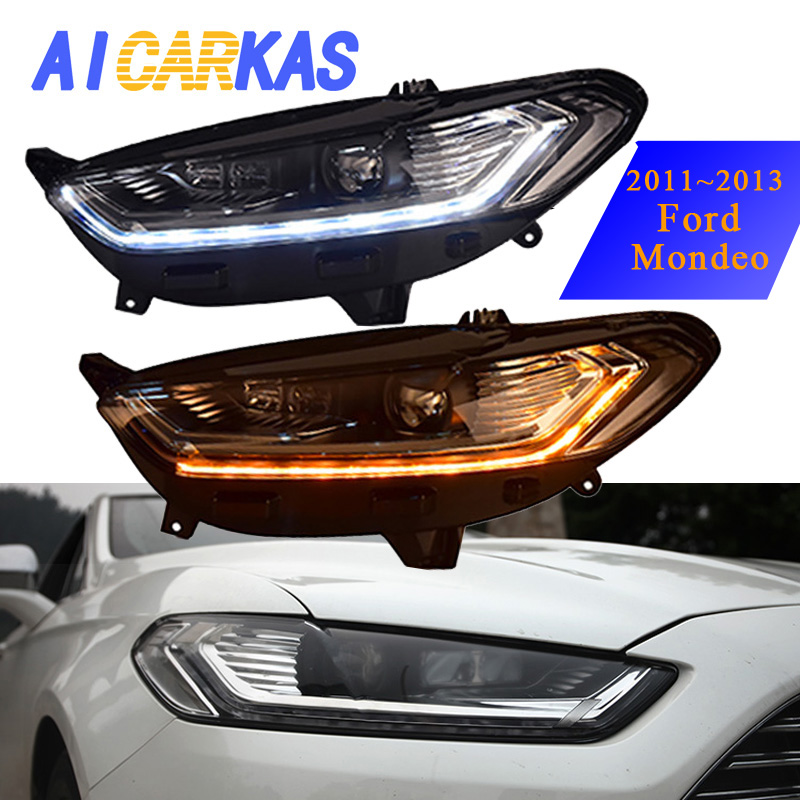 Headlight Assembly For Ford Mondeo 2011 2013 LED Daytime Running Light For Mondeo 2013 With Bi-Xenon HID Project Kit 35W 6000K