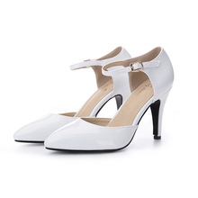 2017 Size 34-41 pointed toe ankle-strap summer style Patent Leather women pumps Sheepskin high heels sandals shoes woman