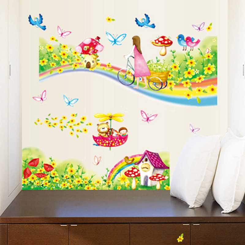 US $3.3 34% OFF|Zs Sticker Rainbow Road Wall Stickers for Kids Rooms  Daycare Wall Decorations Girls Bedroom decorative-in Wall Stickers from  Home & ...