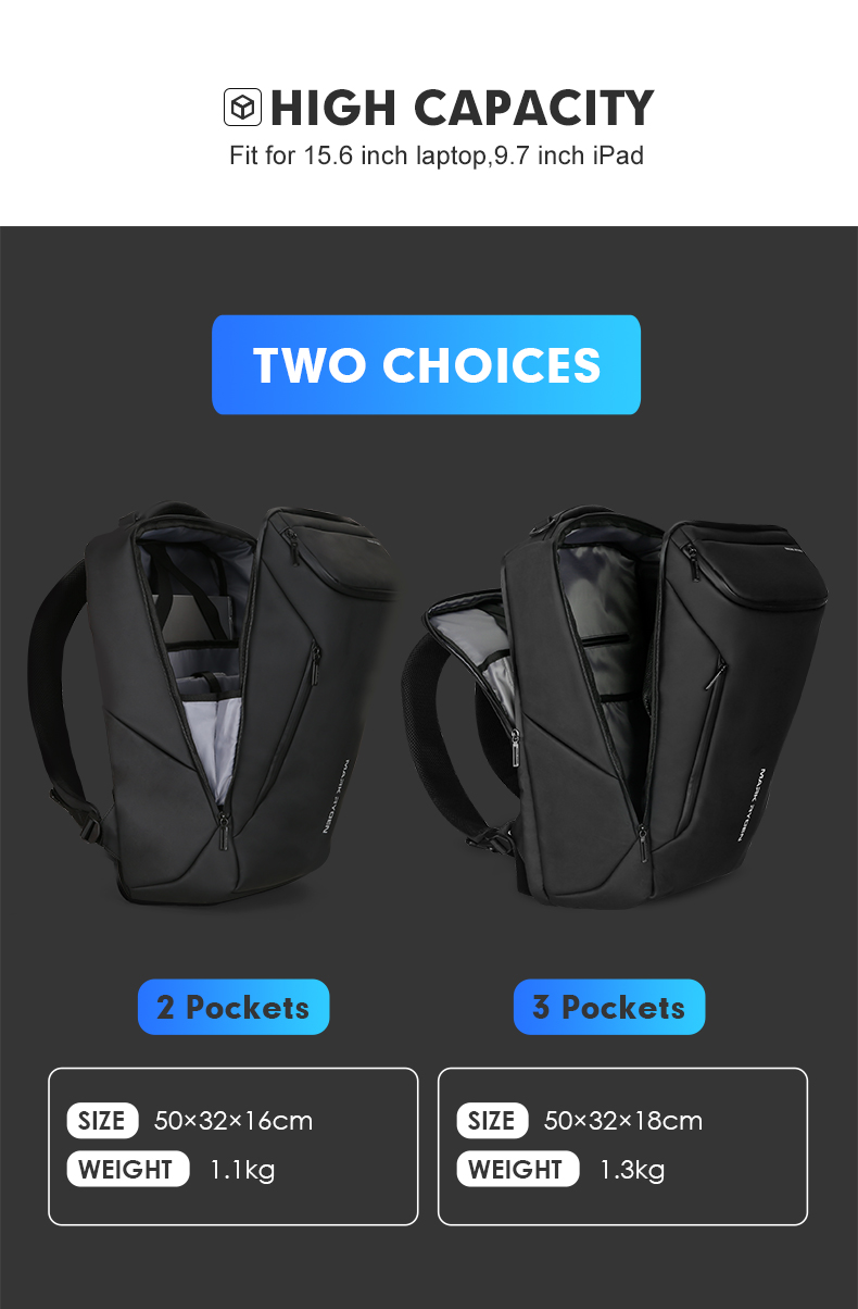 Moda Mochila Multifuncional Bolsa Para Laptop Homem