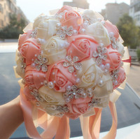 Top Quality Coral Pink Ivory Champagne Satin Rose Festival Bouquet Custom Wedding Bridal Bouquet Flower With