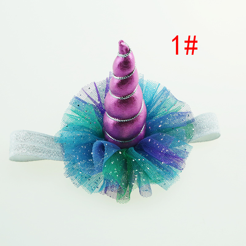 Rainbow Unicorn Horn Head Kid Hair Headband Fancy Dress Cosplay Decorative Chiffon Kid Birthday Party Baby Shower Decoration