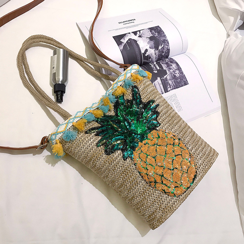 Summer Tassel Straw Handbags For Women Sequin Pineapple Beach Bag