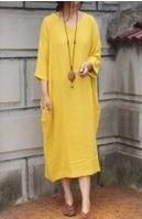 Дизайн sparse текстура хлопок неправильное лоскутное платье женская Свободная Женская одежда Удобная 19002-1 - Цвет: Цвет: желтый