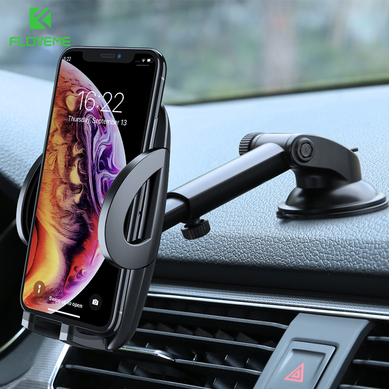 on sale 6077c 7670e US $7.19 20% OFF|FLOVEME Car Phone Holder For iPhone XS MAX XR X Xiaomi 360  Rotate Dashboard Windshield Car Mount Mobile Holder For Phone Stand-in ...