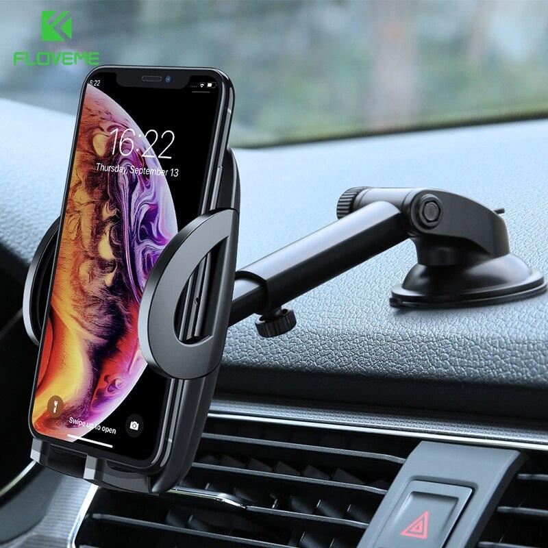 FLOVEME soporte de teléfono de coche para iPhone XS MAX XR X Xiaomi 360 gira Dashboard del parabrisas del montaje del coche soporte móvil para soporte del teléfono soporte movil coche sujeta movil soporte para movil