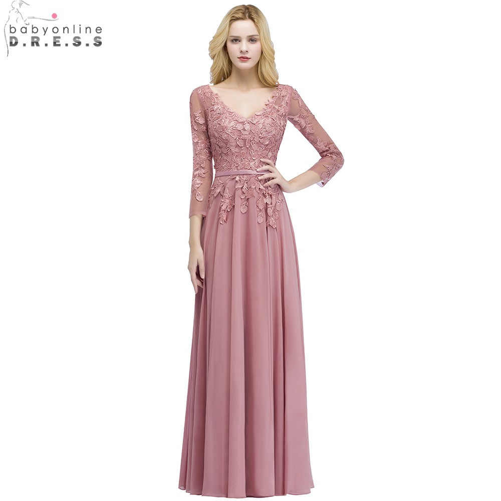 Babyonline Sexy V Neck Dusty Rose Lace Chiffon   Evening     Dresses   2019 3/4 Sleeves Formal Party Gowns Vestido De Festa