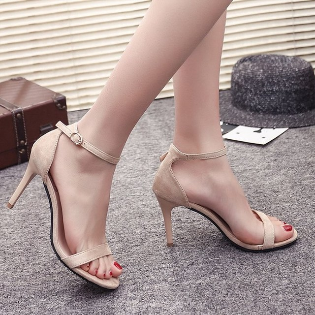 6caa161905ecbe EOEODOIT Stiletto Heels Sandals Summer Sexy High Heel Pumps Open Toe Ankle  Buckle 9 CM Heels Shoes 2018 Summer New Party Shoes