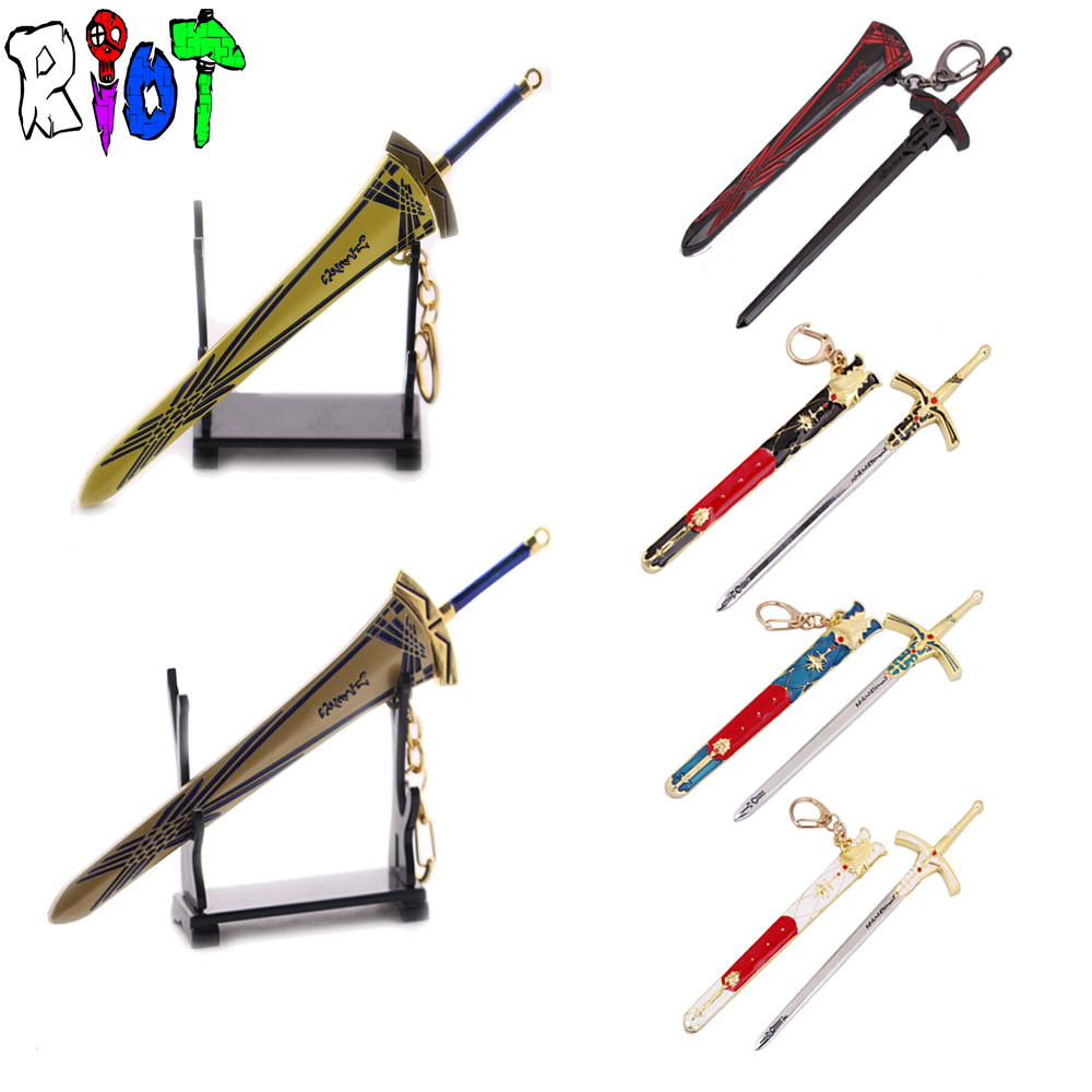 6 types anime Fate/stay night Excalibur weapon model keychain sword and sheath sets two-piece High quality Artware key holder crucifixo pingente de ouro masculino
