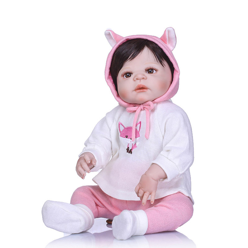 56CM Reborn Doll Toy Full Body Silicone 3D Lifelike Jointed Newborn Doll Gift Playmate M09 56cm baby reborn doll full body silicone 3d lifelike jointed newborn doll playmate gift bm88