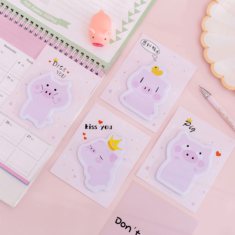 Pink Pig Kiss You Self-Adhesive N Times Memo Pad Sticky Notes Bookmark School Office Supply