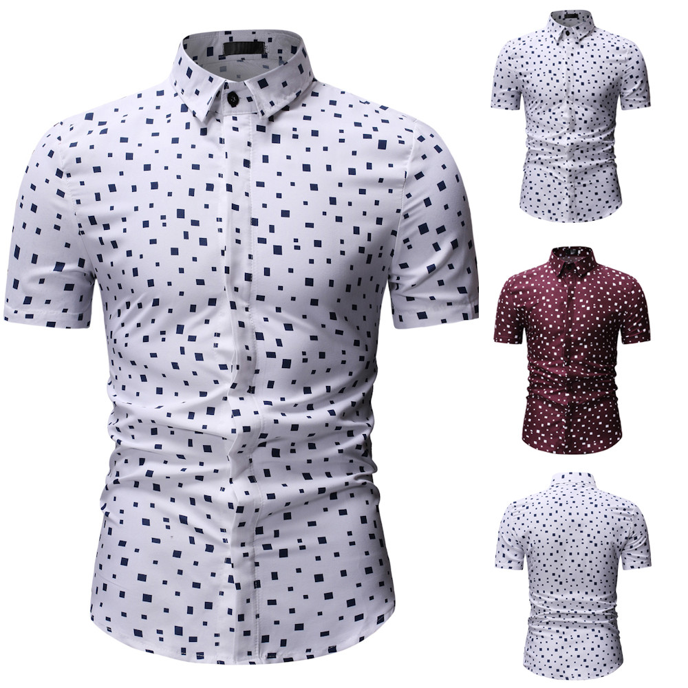 2019 Summer Men's New Square Pattern Casual Blouses Fashion Printing Lapel Short Sleeve Slim Fit Male Social Shirt Tops M-3XL