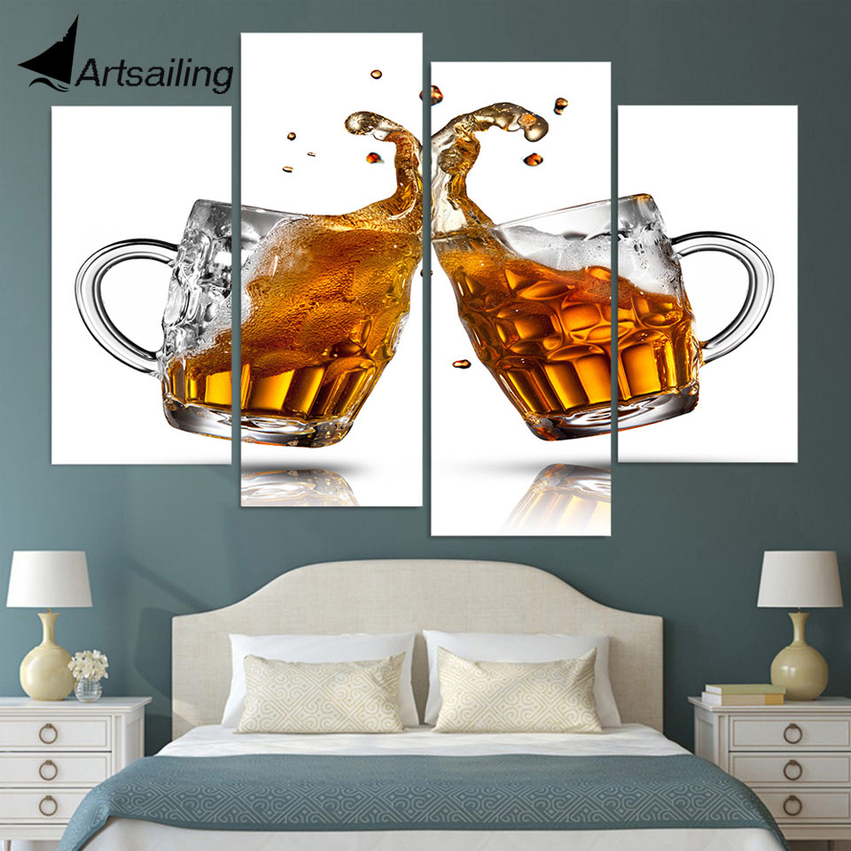Newlywed Home Decor: Canvas Painting 4 Piece Canvas Art Beer Mugs Couple Wine