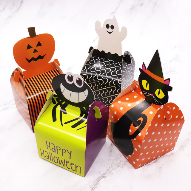 10pcs Halloween Food Packaging Box Spider Pumpkin Cat Ghost Candy
