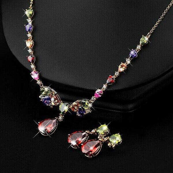 The bride adorn article Luxury jewelry Mona Lisa zircon dinner female 2017 women fashion jewelry necklace earring combination
