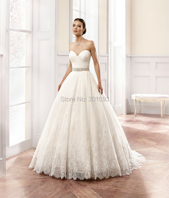 Oumeiya OW109 French Cord Lace Appliques Sweetheart Ball Gown ...