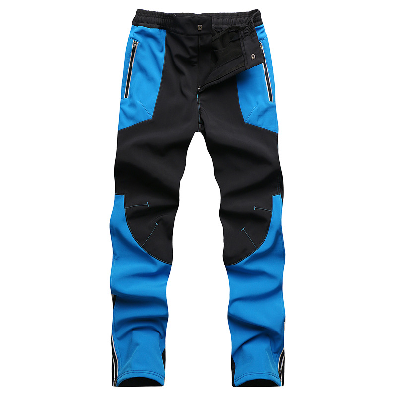 Winter Men Outdoor Soft shell Waterproof Windproof Hiking Pants Fleece Keep Warm Trousers Outdoor Snowboarding Hunting Pants