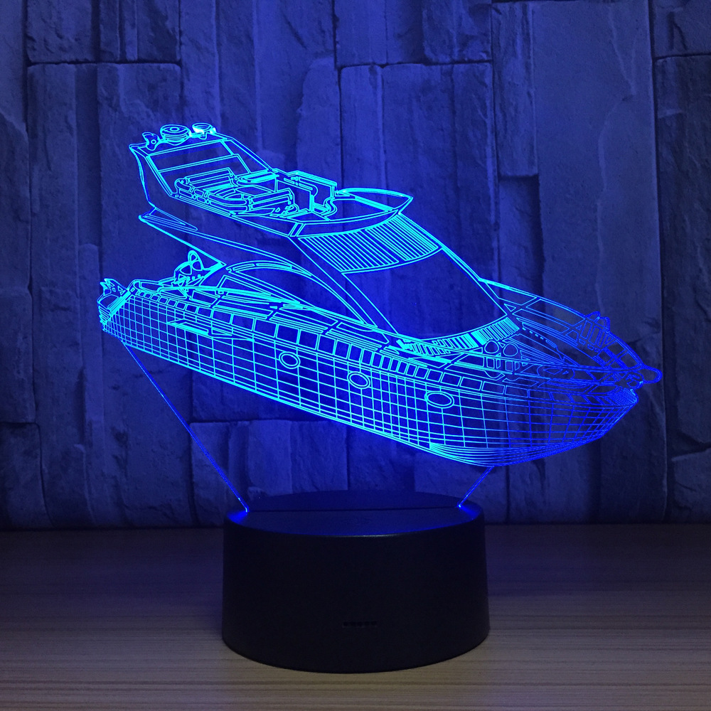 Luxury Yacht 7 Color Lamp 3d Visual Led Night Lights For Kids Touch Usb Table Lampara Lampe Baby Sleeping Nightlight