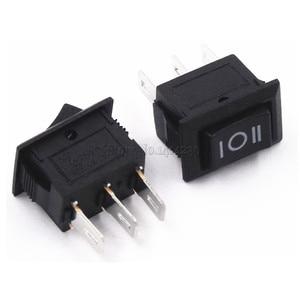 Image 1 - 10 pcs 3 핀 3a 250 v 10*15mm 블랙 버튼 로커 스위치 on off on ac 10x15 미니 로커 전원 스위치