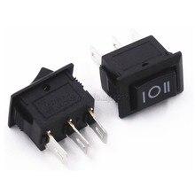 Mini interrupteur à bascule, 10 pièces, 3 broches, 3a, 250V, 10x15mm, noir, marche/arrêt sur AC 10X15