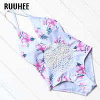 RUUHEE Brand 2017 Newest One Piece Swimsuit Women Set Summer Style Top Floral Swimwear Bodysuit Sexy