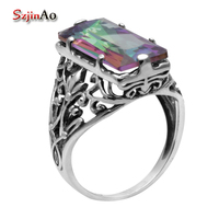 Victorian Fashion Jewellery Mystic Topaz Leaves Pattern Exquisite Carving 925 Sterling Silver Ring