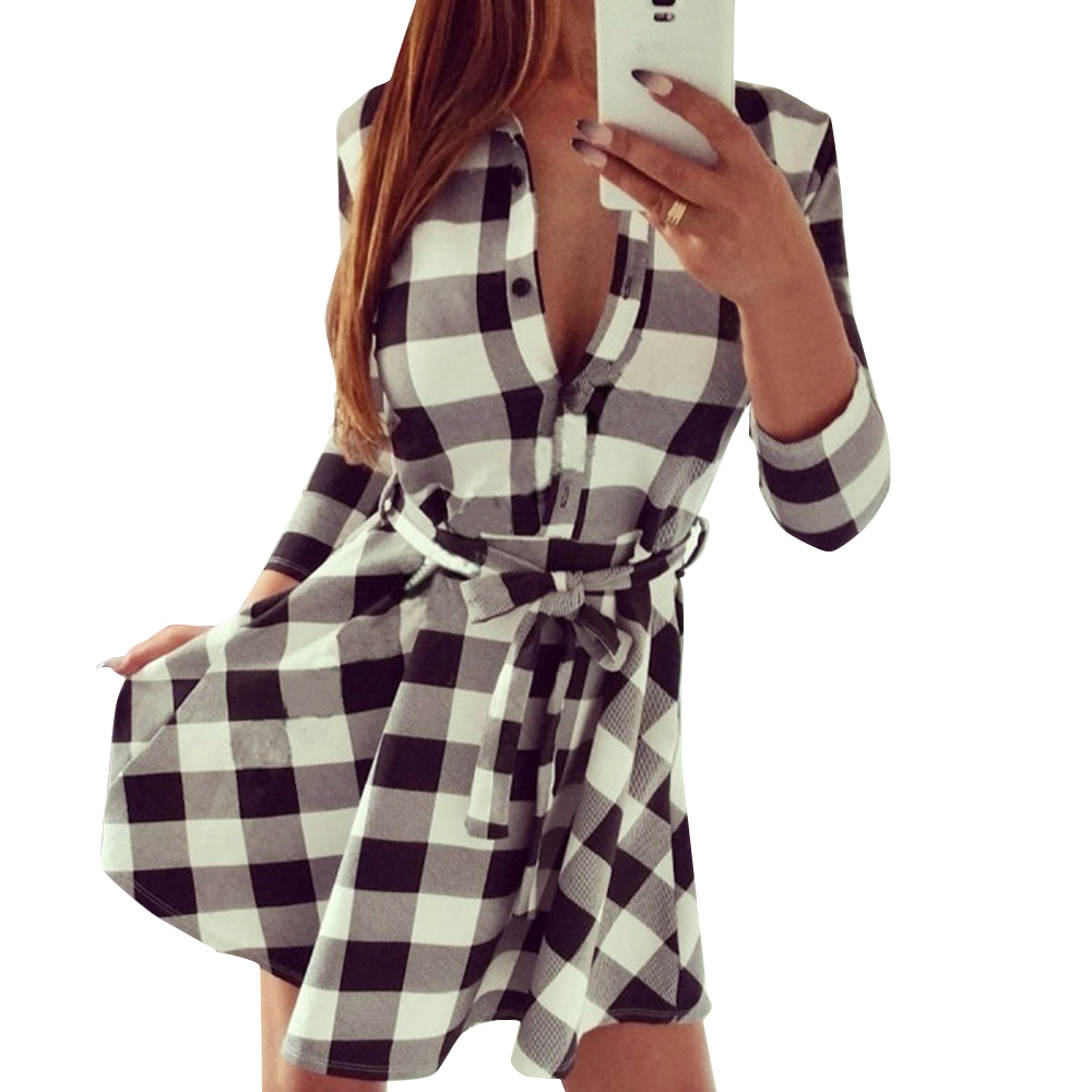 2019 Fashion Long Sleeve Shirt Short Dress Casual Single-breasted Belt Checked Dress
