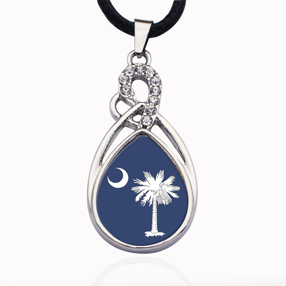 c31f7a71c South Carolina Flag Circle Charm Crystal Pendant Necklaces For Women  Vintage Charm Choker Necklace Party Jewelry Gift