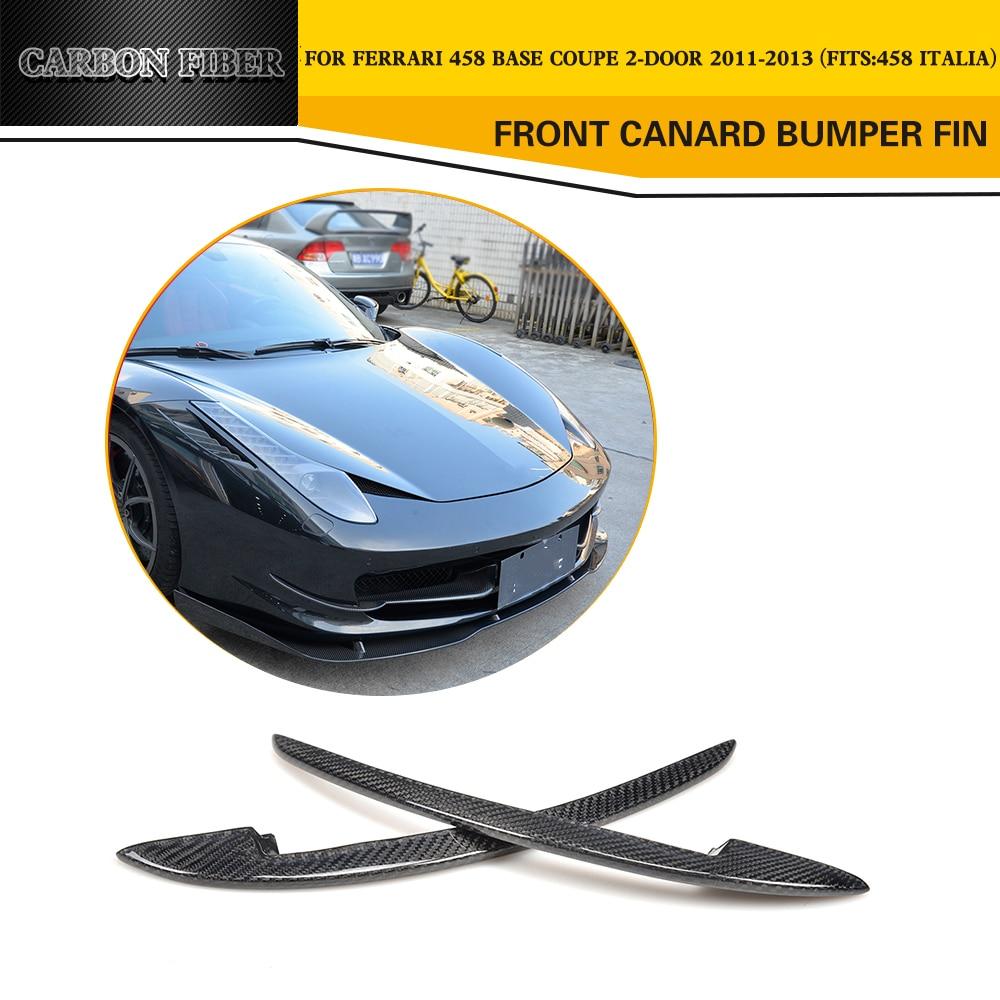 Fibre de carbone avant Canard ailerons de pare-chocs pour Ferrari 458 Base Coupe 2 porte 2011 2012 2013 coffre garniture autocollant voiture style 2 pièces