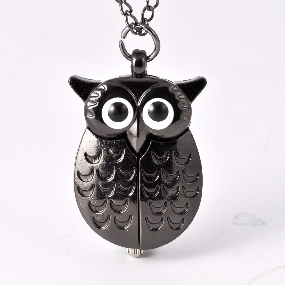 Vintage All Black Owl Case Fashion Quartz Pocket Watch Necklace Bronze Pendant Chain Clock Fashion Women Men For  Gift